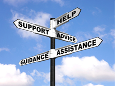 Support, help, advice, guidance, and assistance graphic